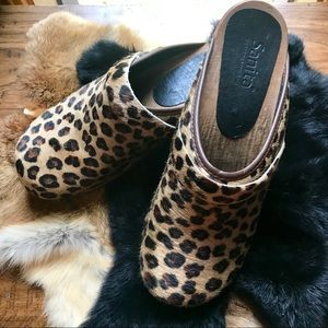Sanita leopard print calf hair clogs-sz 39 (8.5)
